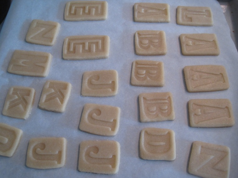 "Stamped out letter ""blocks""  (Cookie cutters are from"