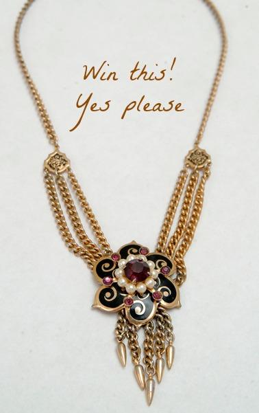 Brass flower three chain necklace